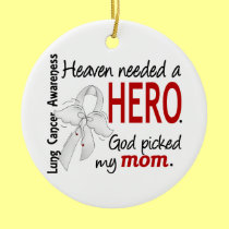 Heaven Needed A Hero Mom Lung Cancer Double-Sided Ceramic Round Christmas Ornament