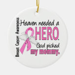 Heaven Needed A Hero Mommy Breast Cancer Double-Sided Ceramic Round Christmas Ornament