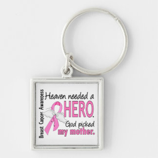 Heaven Needed A Hero Mother Breast Cancer Silver-Colored Square Keychain