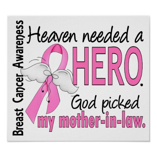 Heaven Needed A Hero Mother-In-Law Breast Cancer Print