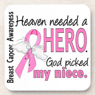 Heaven Needed A Hero Niece Breast Cancer Drink Coasters