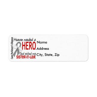 Heaven Needed a Hero Sister-In-Law Parkinson's Label