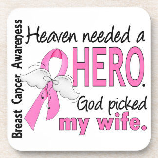 Heaven Needed A Hero Wife Breast Cancer Beverage Coasters