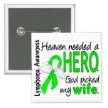 Heaven Needed a Hero Wife Lymphoma 2 Inch Square Button