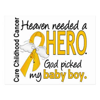 Heaven Needed Hero Baby Boy Childhood Cancer Postcard