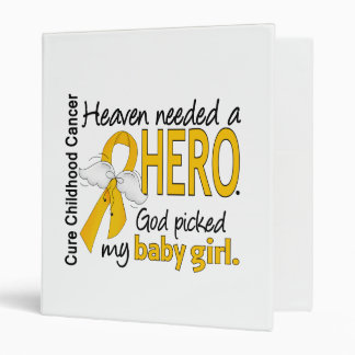 Heaven Needed Hero Baby Girl Childhood Cancer Binder