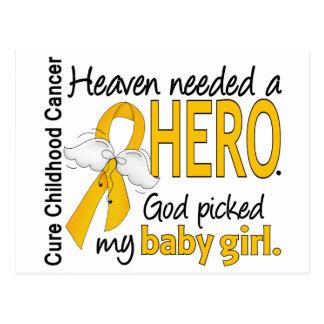 Heaven Needed Hero Baby Girl Childhood Cancer Postcard