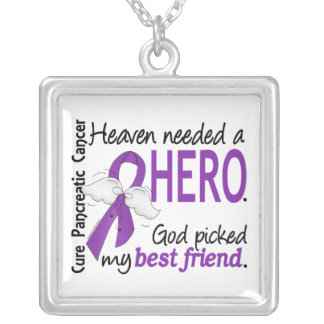 Heaven Needed Hero Best Friend Pancreatic Cancer Square Pendant Necklace