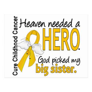 Heaven Needed Hero Big Sister Childhood Cancer Postcard