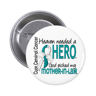 Heaven Needed Hero Cervical Cancer Mother-In-Law 2 Inch Round Button