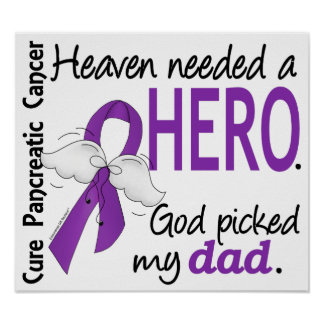 Heaven Needed Hero Dad Pancreatic Cancer Posters