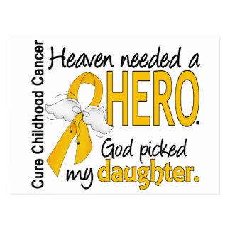 Heaven Needed Hero Daughter Childhood Cancer Postcard