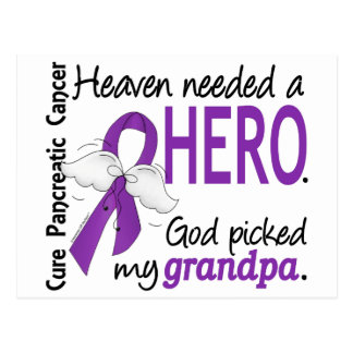 Heaven Needed Hero Grandpa Pancreatic Cancer Postcard