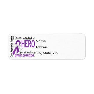 Heaven Needed Hero Great Grandpa Pancreatic Cancer Label