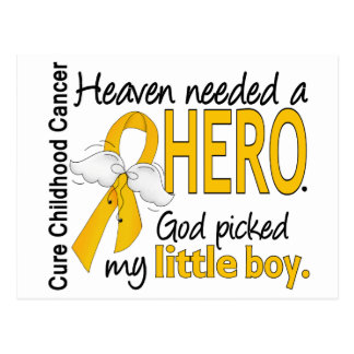 Heaven Needed Hero Little Boy Childhood Cancer Postcard