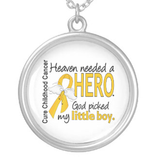 Heaven Needed Hero Little Boy Childhood Cancer Round Pendant Necklace