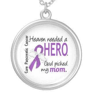 Heaven Needed Hero Mom Pancreatic Cancer Round Pendant Necklace