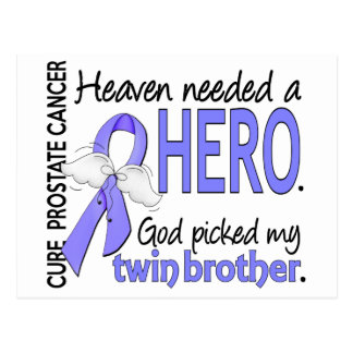 Heaven Needed Hero Prostate Cancer Twin Brother Postcard