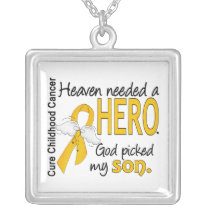 Heaven Needed Hero Son Childhood Cancer Silver Plated Necklace
