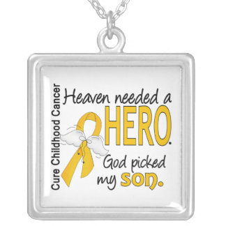 Heaven Needed Hero Son Childhood Cancer Square Pendant Necklace