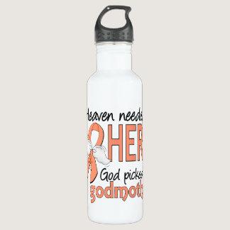 Heaven Needed Hero Uterine Cancer Godmother Water Bottle
