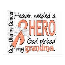 Heaven Needed Hero Uterine Cancer Grandma Postcard