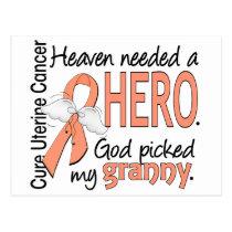 Heaven Needed Hero Uterine Cancer Granny Postcard