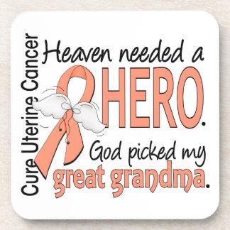 Heaven Needed Hero Uterine Cancer Great Grandma Coaster