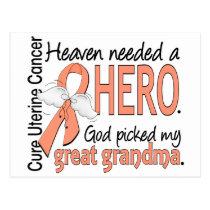 Heaven Needed Hero Uterine Cancer Great Grandma Postcard