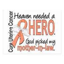 Heaven Needed Hero Uterine Cancer Mother-In-Law Postcard