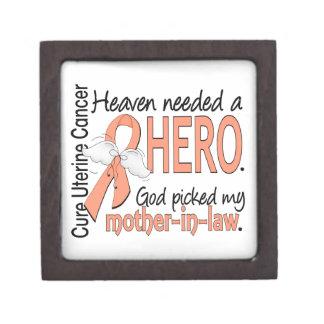 Heaven Needed Hero Uterine Cancer Mother-In-Law Premium Trinket Box