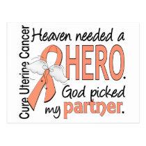 Heaven Needed Hero Uterine Cancer Partner Postcard