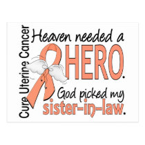 Heaven Needed Hero Uterine Cancer Sister-In-Law Postcard
