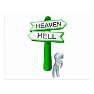 Heaven or hell concept postcards