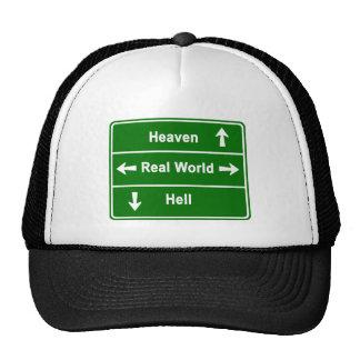 HEAVEN,REAL WORLD & HELL TRUCKER HAT