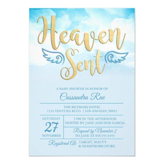 Heaven Sent Baby Shower Invitation Zazzlecom