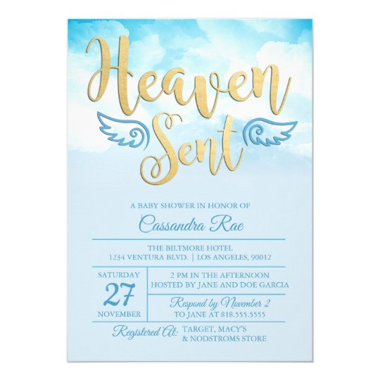 Heaven sent baby shower invitation zazzle heaven sent baby shower invitation filmwisefo