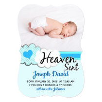 Heaven Sent Blue Clouds Photo Birth Announcement