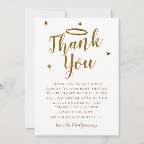 Heaven Sent Gold Halo Baby Shower Stars Thank You Card
