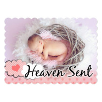 Heaven Sent Photo Adjustable Birth Announcement