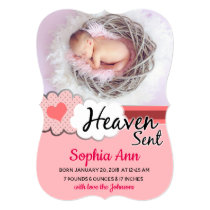 Heaven Sent Pink Clouds Photo Birth Announcement