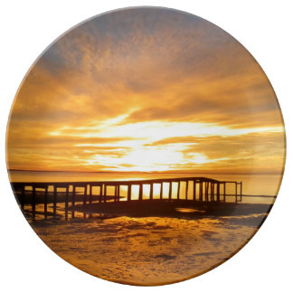 Heaven Sent Sunrise Pier Porcelain Plate