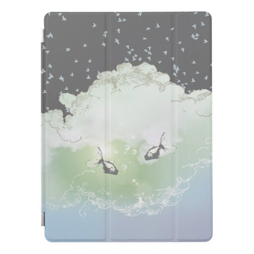 Heaven with fish and birds — surrealist art iPad pro cover