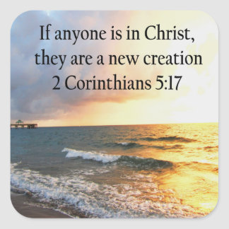 HEAVENLY 2 CORINTHIANS 5:17 OCEAN PHOTO DESIGN SQUARE STICKER