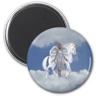 Heavenly Angel And Unicorn Magnet 2 Inch Round Magnet