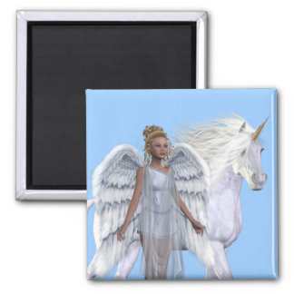 Heavenly Angel And Unicorn Magnet