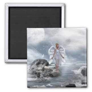 Heavenly Angel And Unicorn Magnet 2 Inch Square Magnet