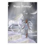 Heavenly Angel Unicorn Scene Greeting Cards