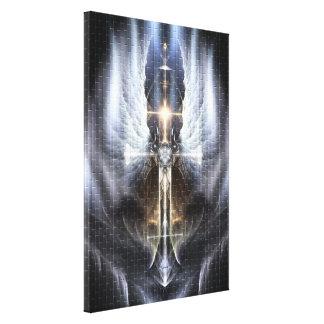 Heavenly Angel Wing Cross Canvas Print Tile