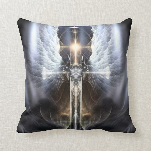 Decorative Pillows With Crosses : Heavenly Angel Wing Cross Decorative Pillow Zazzle